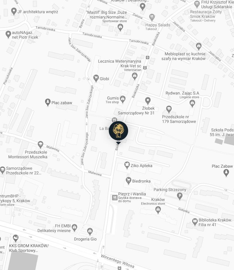 Mapa z lokalizacj膮 biura na ul. Beskidzkiej 30 Nauki jazdy Orze艂 Krak贸w