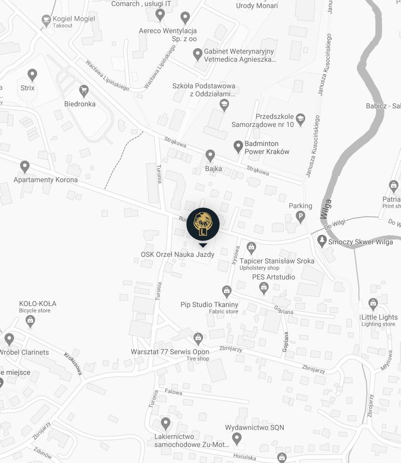 Mapa z lokalizacj膮 biura na ul.Ruczaj18 Nauki jazdy Orze艂 Krak贸w